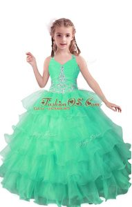 Glittering Turquoise Sleeveless Organza Zipper Kids Formal Wear for Quinceanera and Wedding Party
