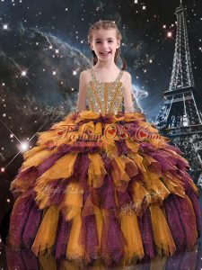 Orange Straps Lace Up Beading and Ruffles Little Girl Pageant Gowns Sleeveless