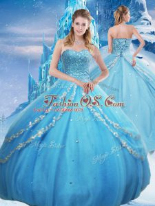 Best Baby Blue Sleeveless Tulle Lace Up Quince Ball Gowns for Military Ball and Sweet 16 and Quinceanera