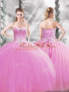 Lilac Ball Gowns Beading Ball Gown Prom Dress Lace Up Tulle Sleeveless Floor Length