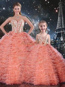 Superior Watermelon Red Lace Up Sweetheart Beading and Ruffles Vestidos de Quinceanera Tulle Sleeveless