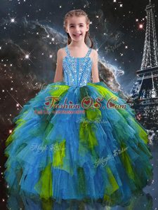 Comfortable Baby Blue Tulle Lace Up Straps Sleeveless Floor Length Child Pageant Dress Beading and Ruffles