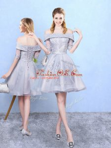 Lovely Grey Tulle Lace Up Damas Dress Half Sleeves Knee Length Appliques