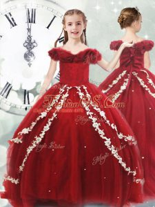 Off The Shoulder Sleeveless Child Pageant Dress Brush Train Appliques Wine Red Tulle