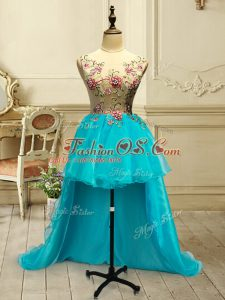 Baby Blue Ball Gowns Embroidery Prom Evening Gown Lace Up Organza Sleeveless High Low