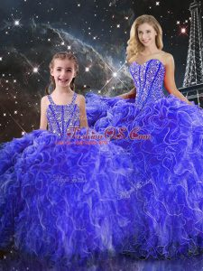 Blue Ball Gowns Sweetheart Sleeveless Organza Floor Length Lace Up Beading and Ruffles Ball Gown Prom Dress