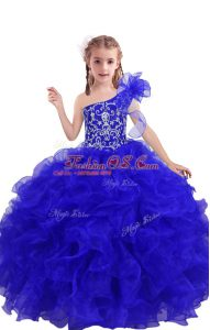 Extravagant Floor Length Royal Blue Little Girls Pageant Dress Organza Sleeveless Beading and Ruffles