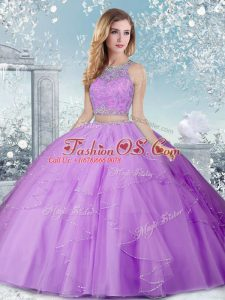 Cheap Scoop Sleeveless Clasp Handle Sweet 16 Dress Lavender Tulle