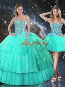 Fancy Sweetheart Sleeveless Lace Up 15th Birthday Dress Turquoise Organza