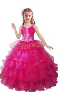 Customized Sleeveless Organza Floor Length Zipper Child Pageant Dress in Fuchsia with Beading and Ruffled Layers