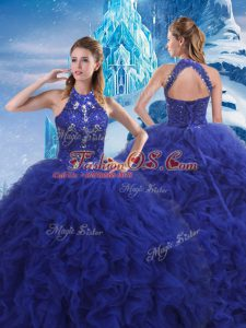 Blue Quince Ball Gowns Scoop Sleeveless Brush Train Lace Up