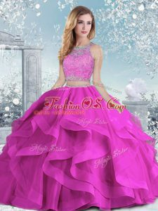Scoop Sleeveless Organza Ball Gown Prom Dress Beading and Ruffles Clasp Handle