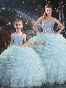 Beading and Ruffles Quinceanera Dresses Aqua Blue Lace Up Sleeveless Floor Length