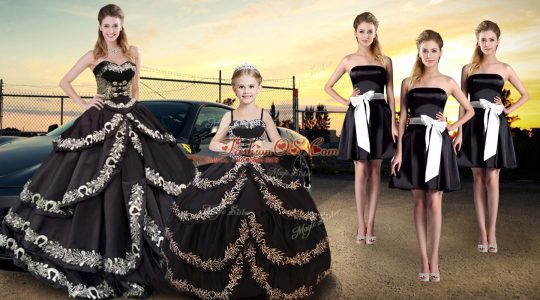Noble Black Quinceanera Dresses Military Ball and Sweet 16 and Quinceanera with Embroidery and Ruffled Layers Sweetheart Sleeveless Lace Up