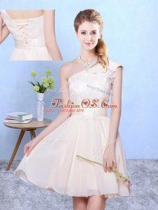Discount One Shoulder Cap Sleeves Bridesmaid Dress Knee Length Appliques Champagne Chiffon