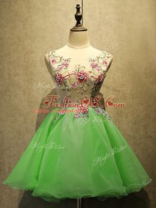 Charming Homecoming Dress Prom and Party with Embroidery Scoop Sleeveless Lace Up