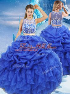 Royal Blue Scoop Neckline Beading and Ruffles and Pick Ups Sweet 16 Quinceanera Dress Sleeveless Zipper