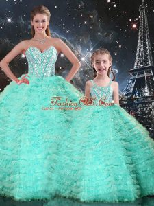 Fashionable Apple Green Sweetheart Lace Up Beading and Ruffles Sweet 16 Dress Sleeveless
