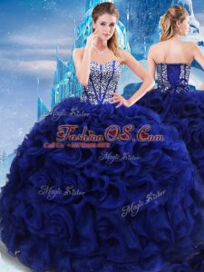 Floor Length Royal Blue 15th Birthday Dress Fabric With Rolling Flowers Sleeveless Beading