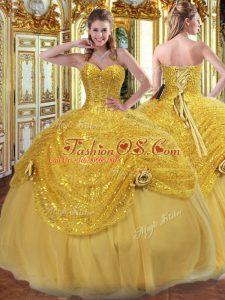 Floor Length Gold 15 Quinceanera Dress Sweetheart Sleeveless Lace Up