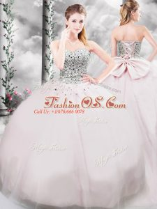 Designer Brush Train Ball Gowns Quinceanera Dresses Pink Sweetheart Tulle Sleeveless Lace Up