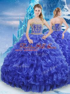 Colorful Royal Blue Ball Gowns Organza Strapless Sleeveless Beading and Appliques and Ruffles Floor Length Lace Up 15 Quinceanera Dress