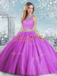Lilac Sleeveless Tulle Clasp Handle 15th Birthday Dress for Military Ball and Sweet 16