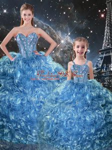 Artistic Floor Length Baby Blue Sweet 16 Dress Organza Sleeveless Beading and Ruffles