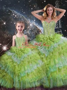 Elegant Multi-color Organza Lace Up Sweetheart Sleeveless Floor Length Sweet 16 Dress Beading and Ruffled Layers and Sequins