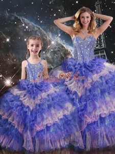 Latest Multi-color Organza Lace Up Vestidos de Quinceanera Sleeveless Floor Length Ruffled Layers and Sequins