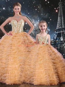 Top Selling Sleeveless Tulle Floor Length Lace Up Sweet 16 Dresses in Orange with Beading and Ruffles