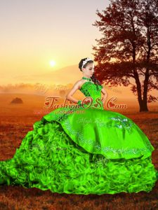 Lace Up Vestidos de Quinceanera Green for Military Ball and Sweet 16 and Quinceanera with Embroidery and Ruffles Brush Train