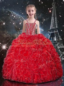 Enchanting Straps Sleeveless Organza Little Girl Pageant Gowns Beading and Ruffles Lace Up