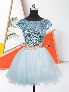 Super Light Blue Short Sleeves Organza Lace Up Dress for Prom for Prom and Party