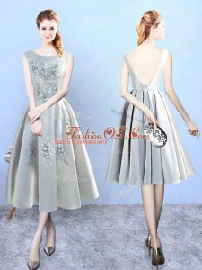 Enchanting A-line Quinceanera Dama Dress Silver Scoop Satin Sleeveless Tea Length Backless
