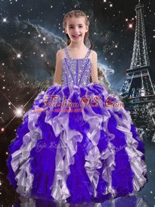 Amazing Purple Sleeveless Beading and Ruffles Floor Length Little Girls Pageant Dress