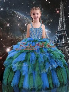 Spectacular Floor Length Blue Little Girl Pageant Dress Straps Sleeveless Lace Up