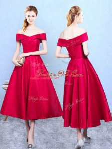 Taffeta Off The Shoulder Sleeveless Lace Up Appliques Quinceanera Dama Dress in Wine Red