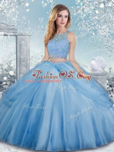 Sweet Baby Blue Ball Gowns Scoop Sleeveless Tulle Floor Length Clasp Handle Beading Quince Ball Gowns