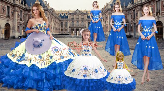 Fashionable Sleeveless Organza Floor Length Lace Up Sweet 16 Quinceanera Dress in Royal Blue with Embroidery and Ruffled Layers