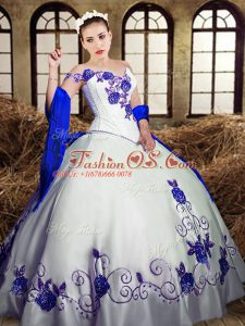 White Taffeta Lace Up Quinceanera Gown Sleeveless Floor Length Embroidery