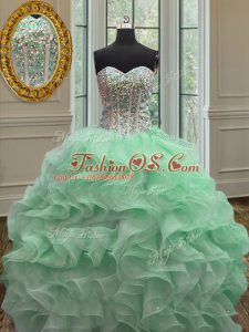 Glittering Sweetheart Sleeveless Organza Sweet 16 Quinceanera Dress Ruffles Lace Up