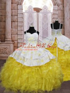 Fashion Gold Lace Up Spaghetti Straps Embroidery and Ruffles Kids Formal Wear Organza Sleeveless Brush Train