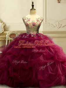 Sleeveless Floor Length Appliques and Ruffles and Sequins Lace Up Quinceanera Gowns with Burgundy
