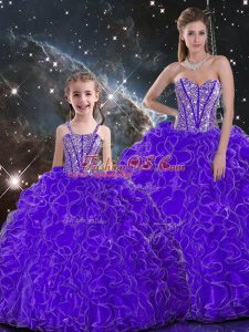 Beautiful Purple 15 Quinceanera Dress Military Ball and Sweet 16 and Quinceanera with Beading and Ruffles Sweetheart Sleeveless Lace Up