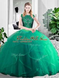 Turquoise Two Pieces Lace and Ruffles Quinceanera Gown Zipper Tulle Sleeveless Floor Length