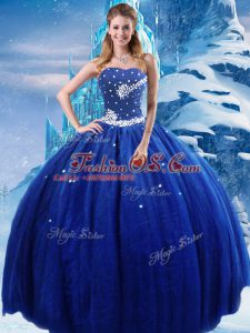 Sophisticated Royal Blue Strapless Lace Up Beading Vestidos de Quinceanera Sleeveless