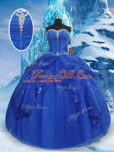 Super Royal Blue Sweetheart Neckline Beading and Pick Ups Quinceanera Gowns Sleeveless Lace Up