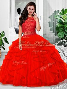 Halter Top Sleeveless Quinceanera Dresses Floor Length Lace and Ruffles Red Tulle