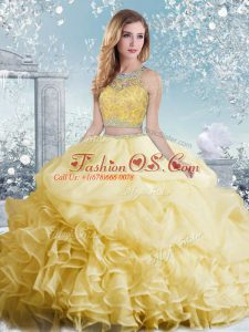 Dazzling Yellow Organza Clasp Handle Bateau Sleeveless Floor Length Quince Ball Gowns Beading and Ruffles and Pick Ups